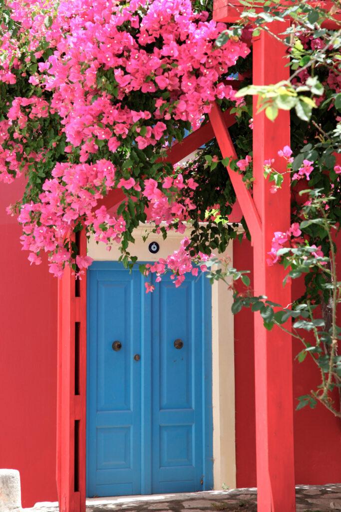 Lovely courtyard in the village of Kastellorizo (Megisti), Dodecanese Greece