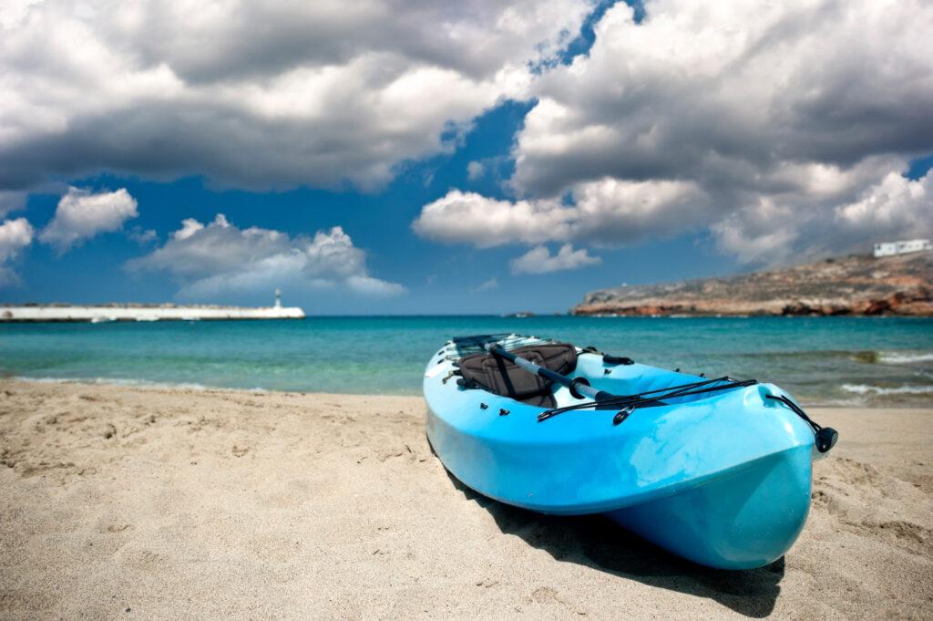 Kayak on sandy beach in Kasos island, Dodecanese Greece