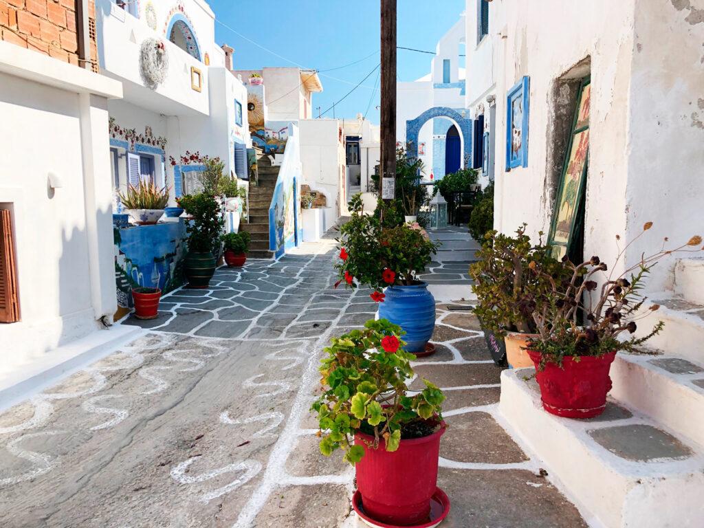 Street in Chora Kythnos island, Cyclades, Greece