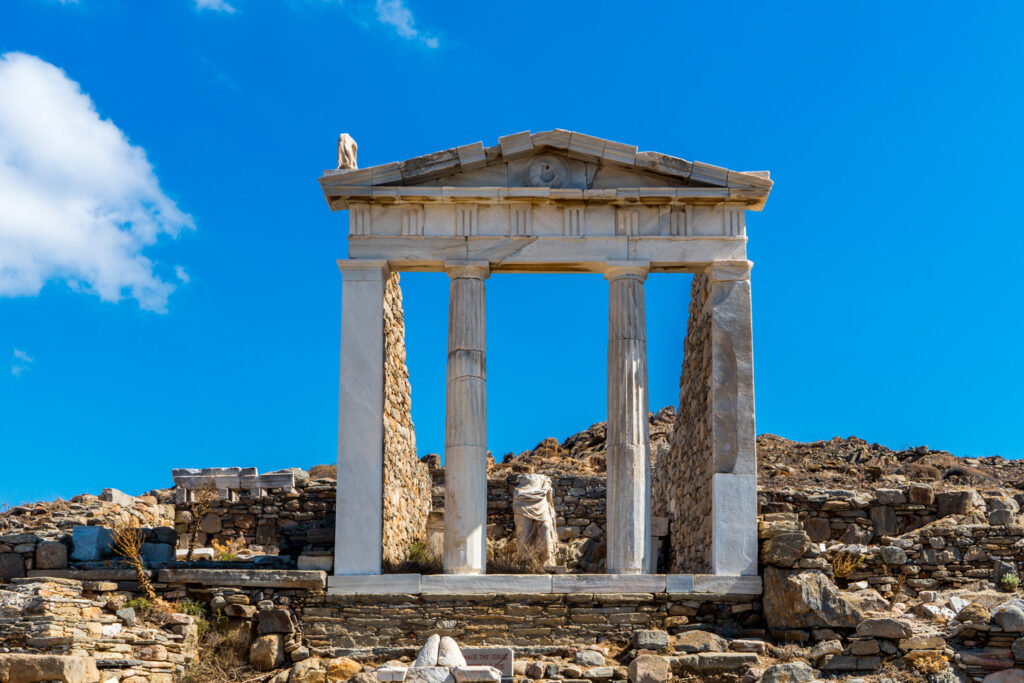Ancient monuments and ruins in the sacred island of Delos, Cyclades, Greece