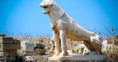 Delos, the ancient sacred island, an important archaeological site in the Cyclades, Greece