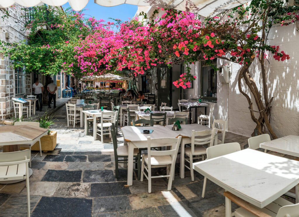 Traditional road in Ermoupolis, Syros island,cyclades, Greece