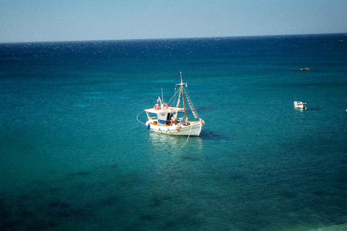 A fisherman's boat near the village of Palaiochori on Milos island