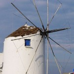 A windmill in Parikia is of the traditional Cyclades design