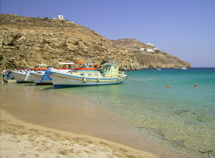Agios Sostis Beach on Mykonos, Greece