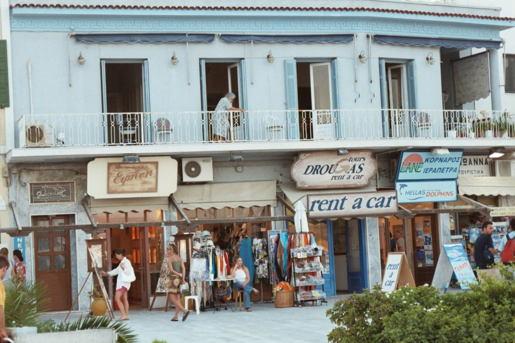 A string of tourist shops in Adamas Port, Milos