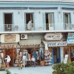 A string of tourist shops in Adamas Port, Milos