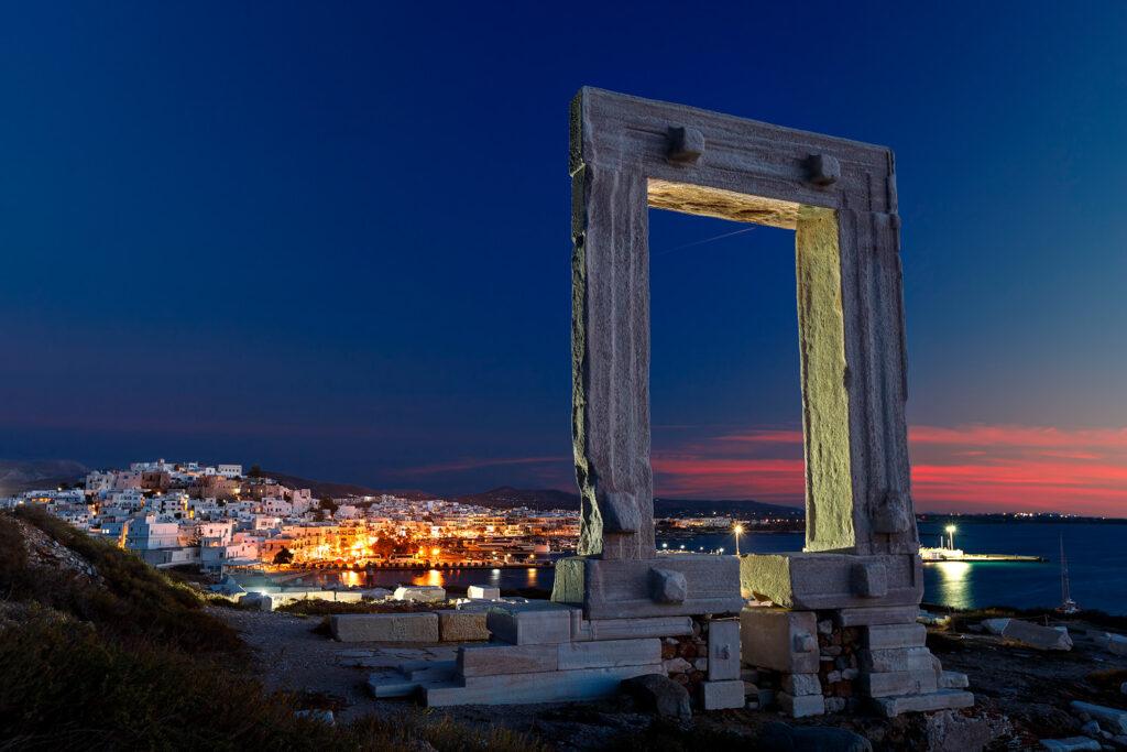 Ancient entrance to the Apollo temple, Portara, Naxos island, Greece