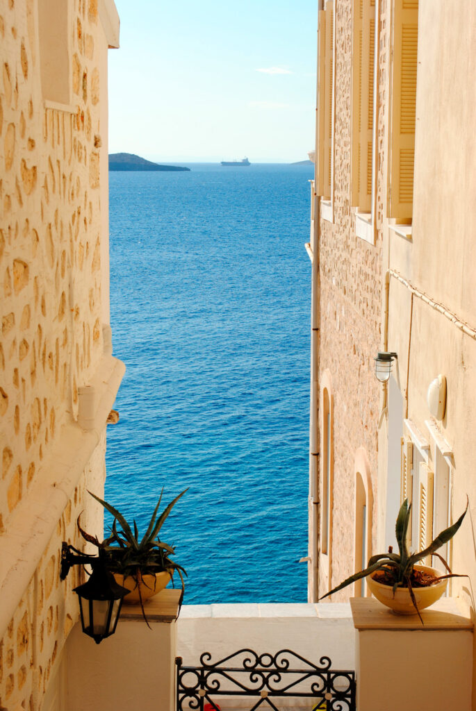 View between buildings in Ermoupolis in Syros, Cyclades, Greece