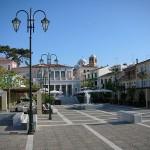 Central square of Karlovasi, Samos island, Greece