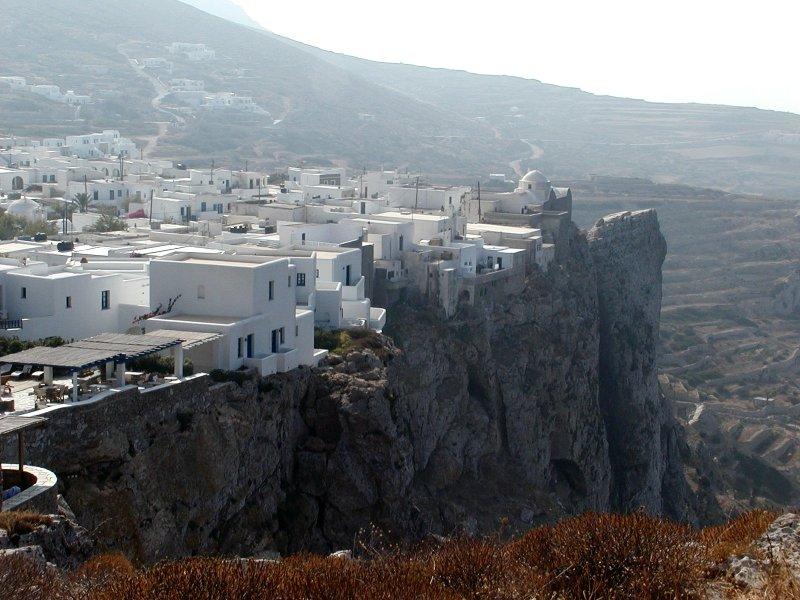 Cliffs at Chora on Folegandros, Greece