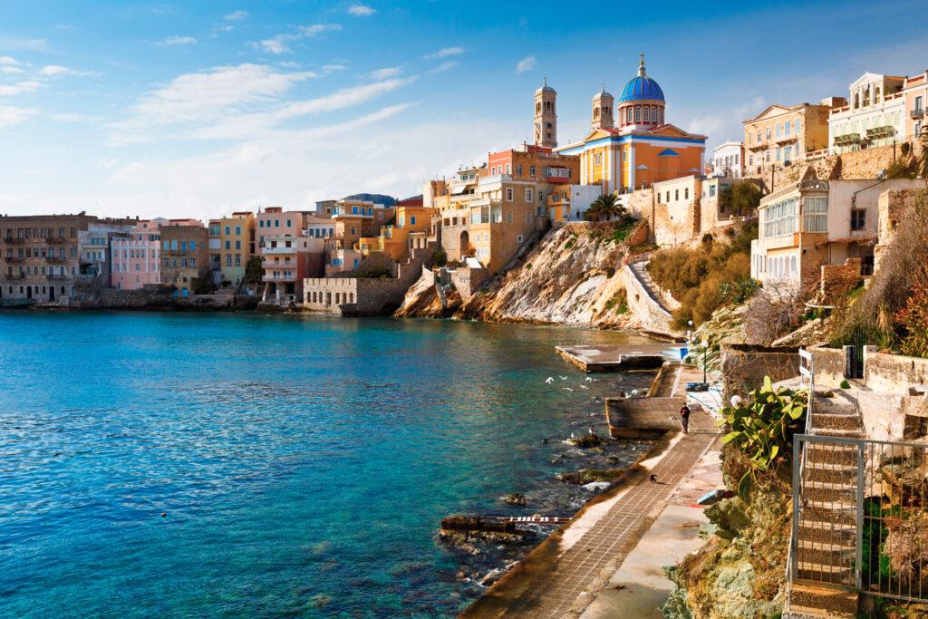 Town of Ermoupoli on Syros island, Cyclades, Greece