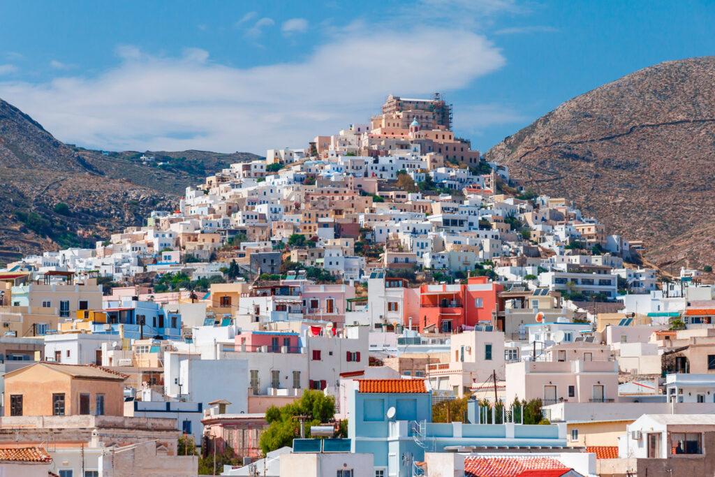 Ano Poli in Syros island against a blue sky, Greece
