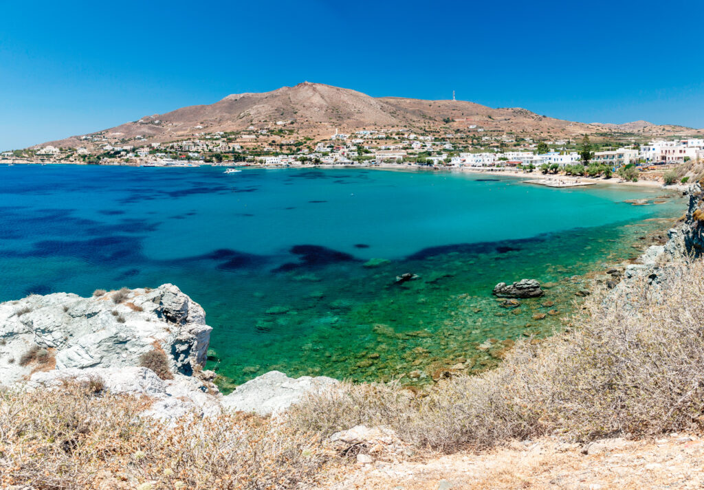 Finikas Bay, one of the most famous summer resorts in Syros, Cyclades, Greece