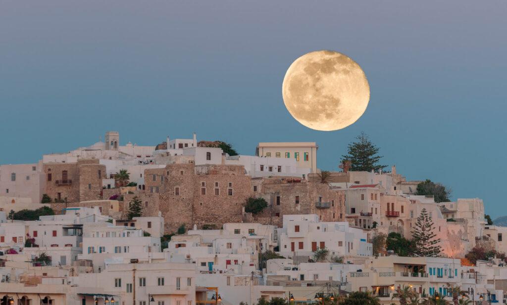 Full moon over Naxos Town, Naxos island Greece