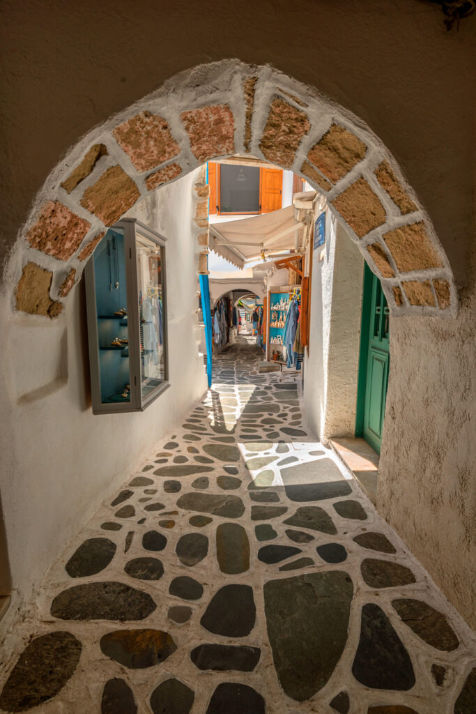 In the alleys of Naxos Town (Chora) Greece.