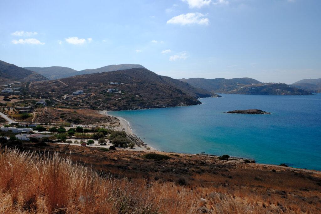 Island of Syros in greece, panorama of Delfini beach