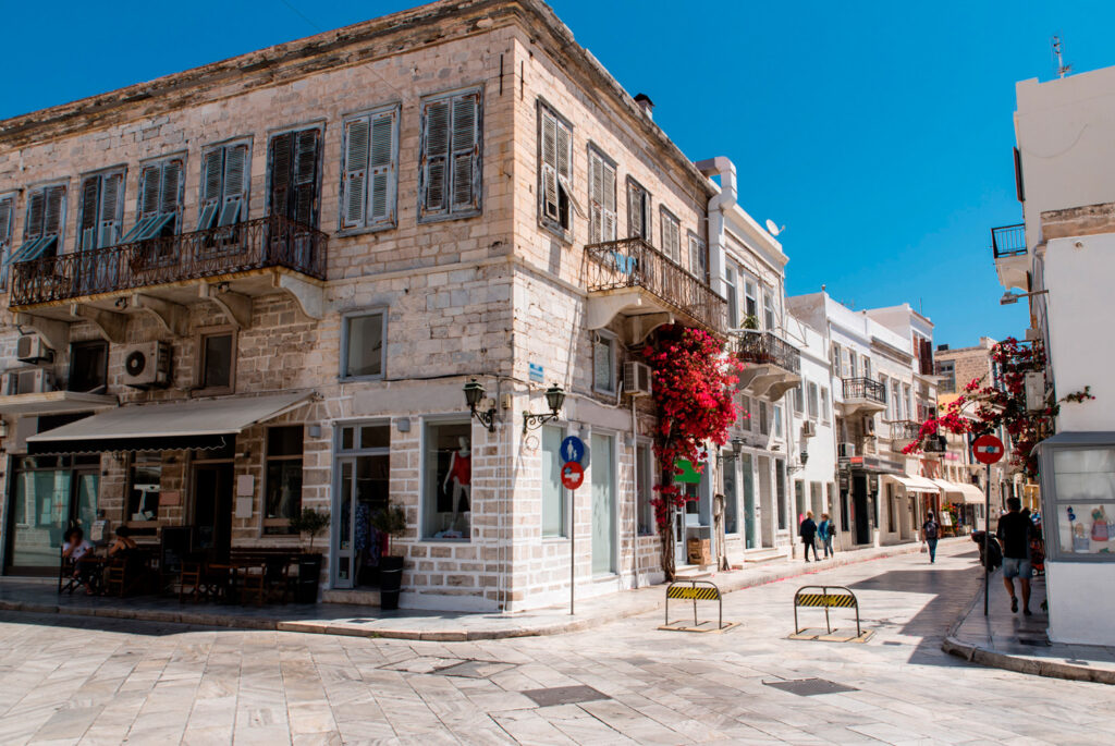 Main square of Miaouli in Ermoupoli, capital of Syros island in Cyclades, Greece