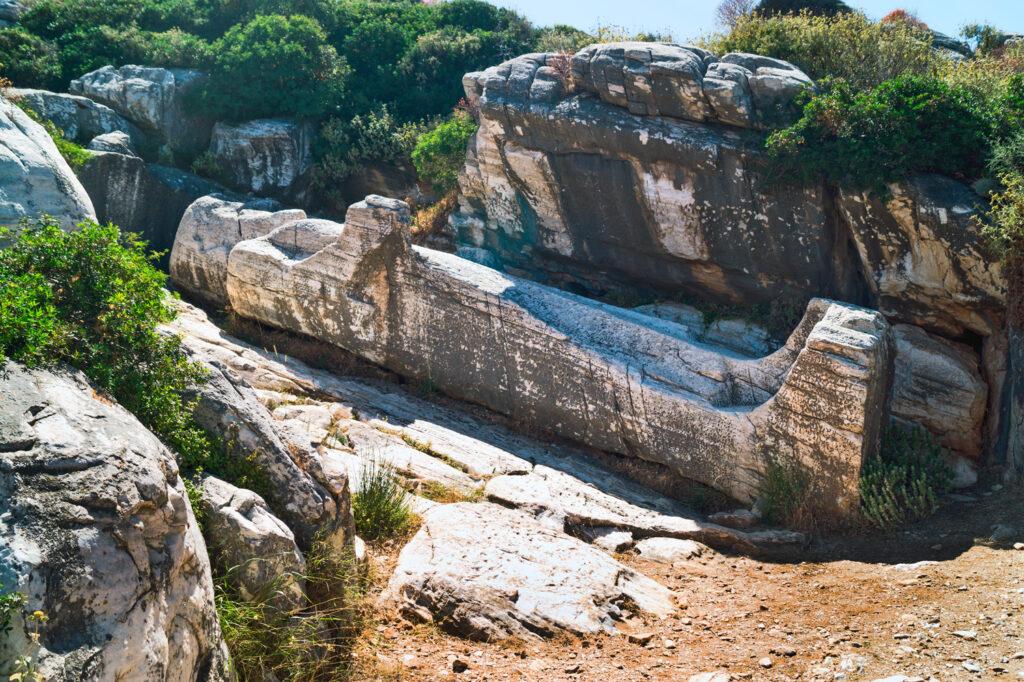 Naxos Melanes Kouros Statue (6 metres long, 7th century B.C.), Naxos Greece