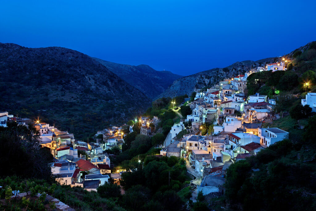 Night view of Koronos, one of the most beautiful mountainous villages of Naxos island, Cyclades, Greece