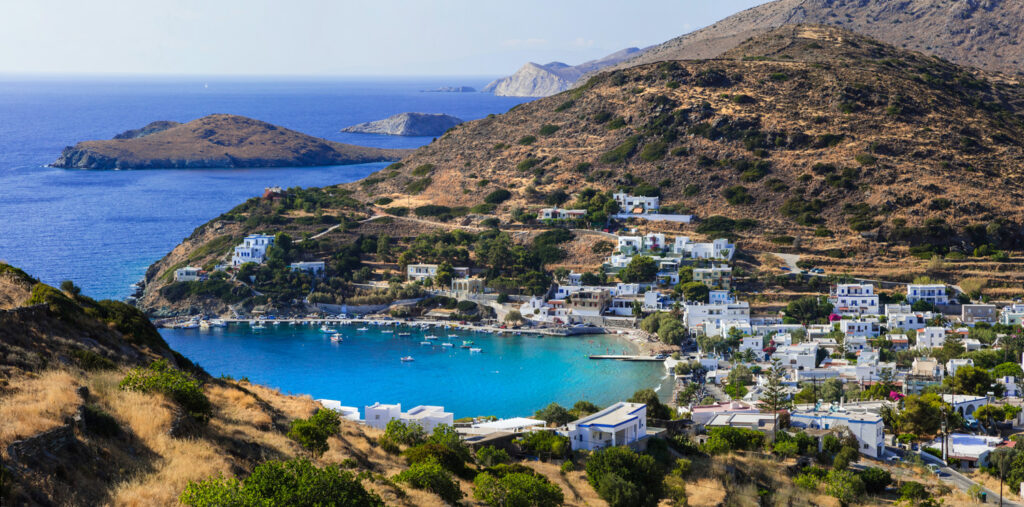 Picturesque view of Kini village and beach in Syros island. Greece