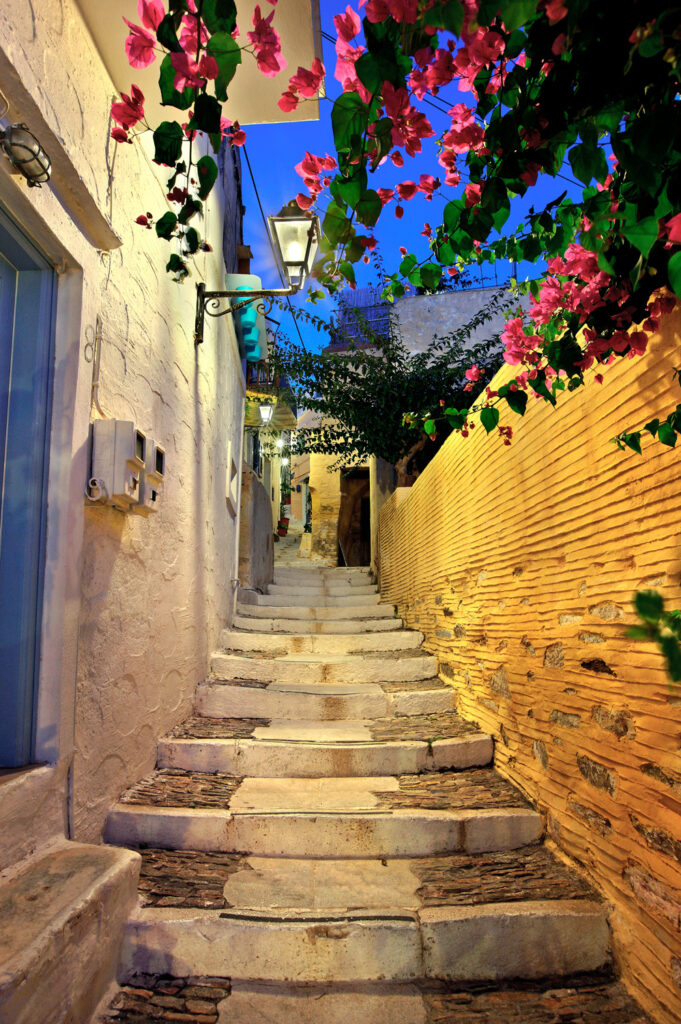 Picturesque alley of Ano Syra, the old medieval settlement of Syros island, Cyclades, Aegean sea, Greece