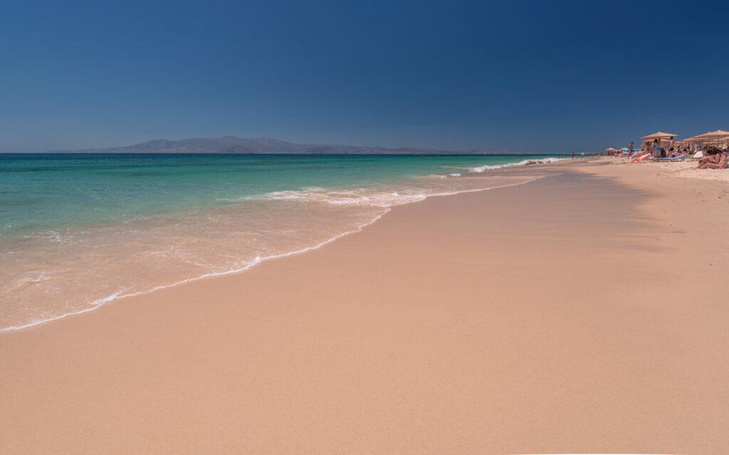 Beautiful sandy Plaka beach in Naxos, Cyclades Greece