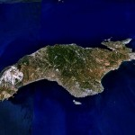 Samos seen from a satellite