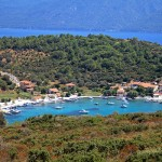 Poseidonio, a small coastal settlement on Samos, with the coast of Turkey in the background.