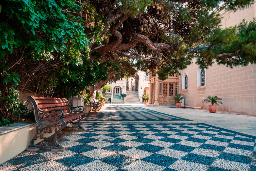 Syros, Greece, city streets in Ermoupolis and buildings in the summer light
