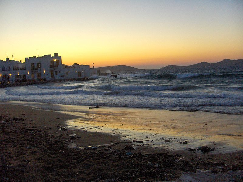 Sunset in Naousa, Paros, Greece
