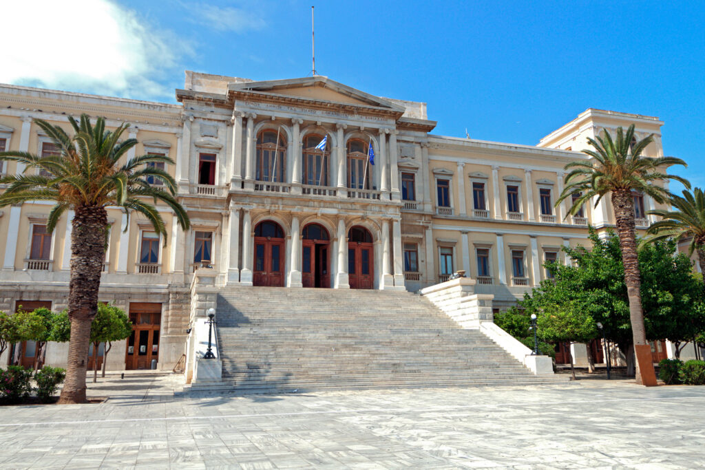 The City Hall of Ermoupolis town at Syros island in Greece