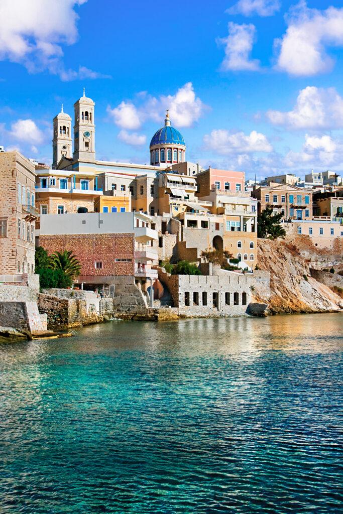 The city Ermoupoli - beautiful capital town of Cyclades. Syros island, Greece