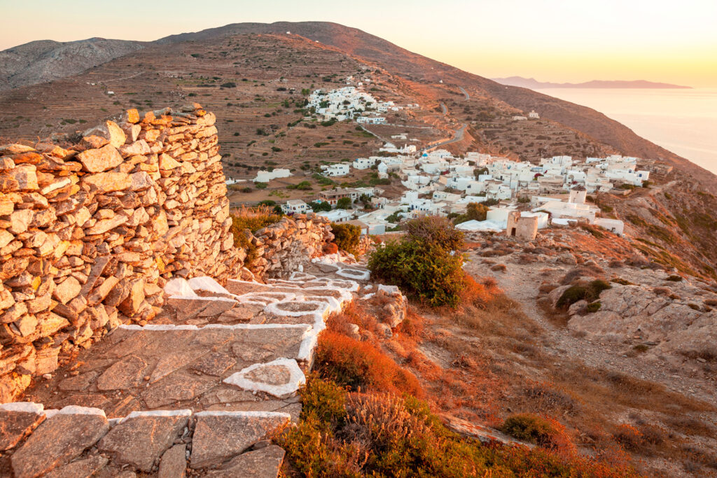 Kastro village (Chora) on island Sikinos, Greece