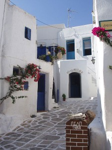 Traditional street of Lefkes, Paros, Greece
