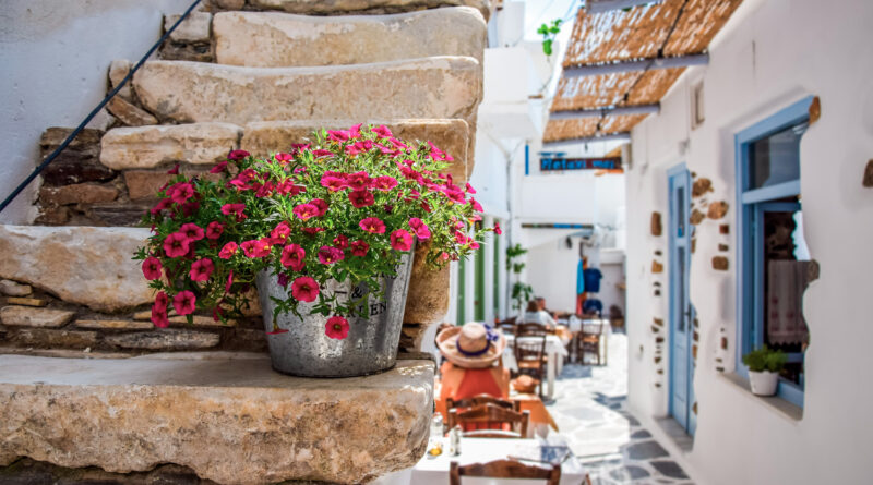 Traditional alley in Chora in Naxos island, Greece
