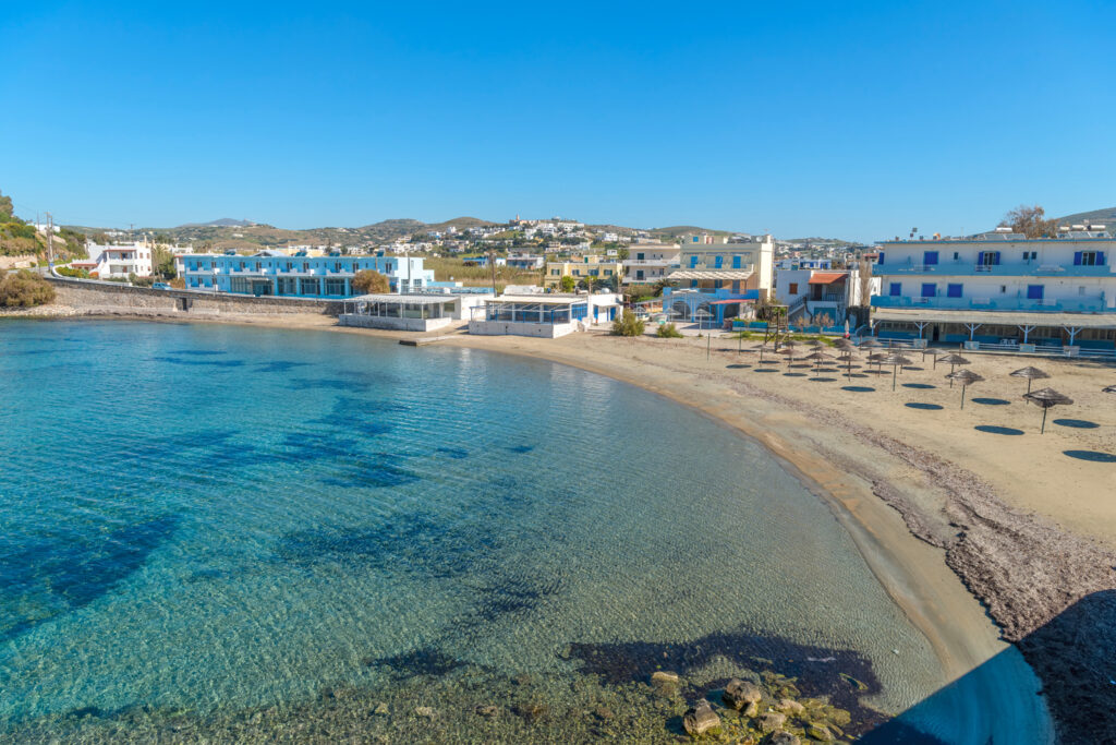 Vari beach in Syros, Cyclades, Greece. Panoramic view of one of the most beautiful beaches.