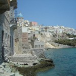 View of Ermoupoli from the beach, Syros, Greece