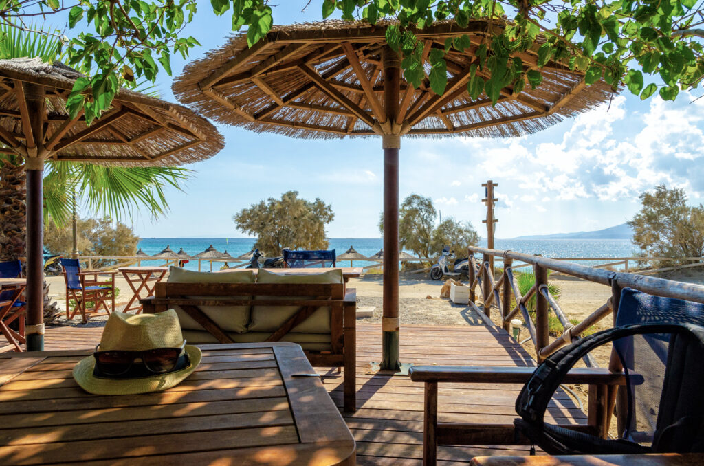 Beach bar in Naxos island, Cyclades Greece
