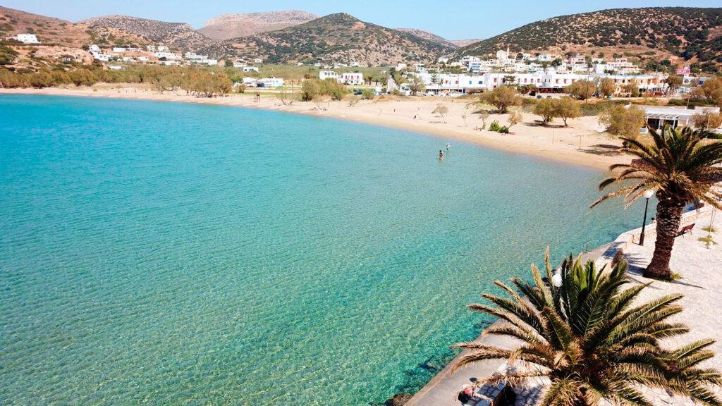 Aerial view of Agathopes beach in Syros island, Cyclades, Greece