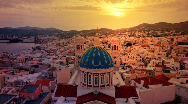 Church and dome of Agios Nikolaos in the famous district of Vaporia in Ermoupolis in Syros island - Ermoupolis, Cyclades, Greece