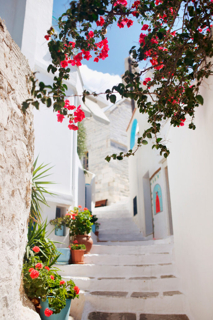 Stairs winding up the narrow alleys and streets in Filoti village in the island of Naxos, Greece