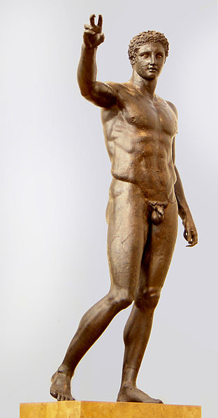 "Bronze stutue ""Ephebe"" found in Antikythera-Ephebe, 340 – 330 BC, National Archaeological Museum of Athens"