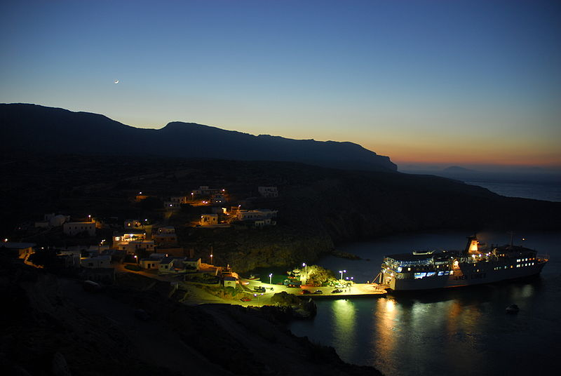 Antikythera, Potamos port by night