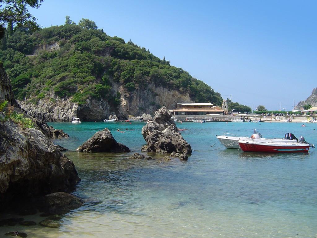 Boats and rocks in Paleokastritsa, Corfu
