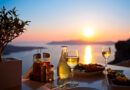 Dinner for two at the caldera, sunset in Santorini, Greece