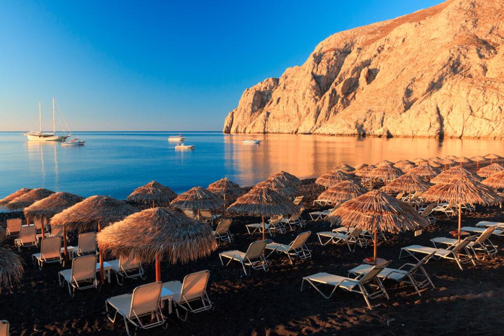 Kamari beach at sunrise, Santorini, Cyclades Greece