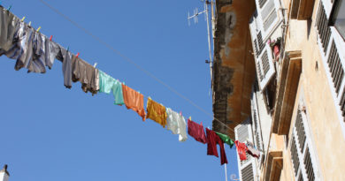 Laundry on a string in Corfu city