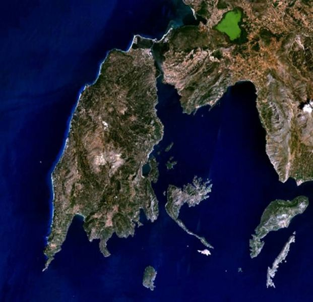Lefkada island, from a satellite