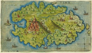 Map of Tinos by Giacomo Franco (1597)